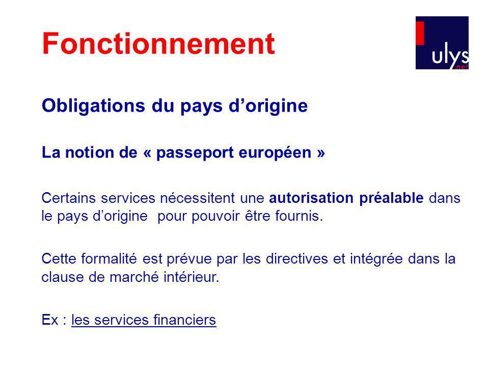 Obligations du pays dorigine La notion de « passeport européen » Certains services nécessitent une autorisation préalable dans le pays dorigine pour pouvoir être fournis.