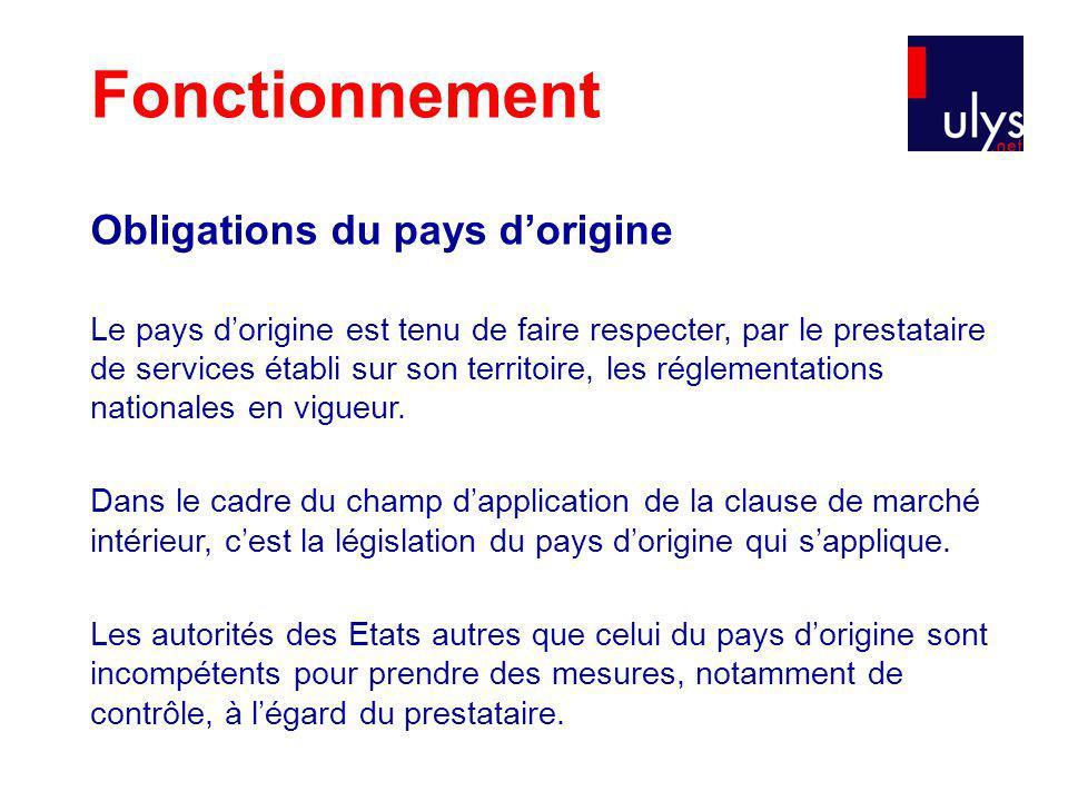 Obligations du pays dorigine Le pays dorigine est tenu de faire respecter, par le prestataire de services établi sur son territoire, les réglementations nationales en vigueur.