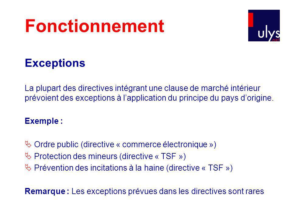 Exceptions La plupart des directives intégrant une clause de marché intérieur prévoient des exceptions à lapplication du principe du pays dorigine.