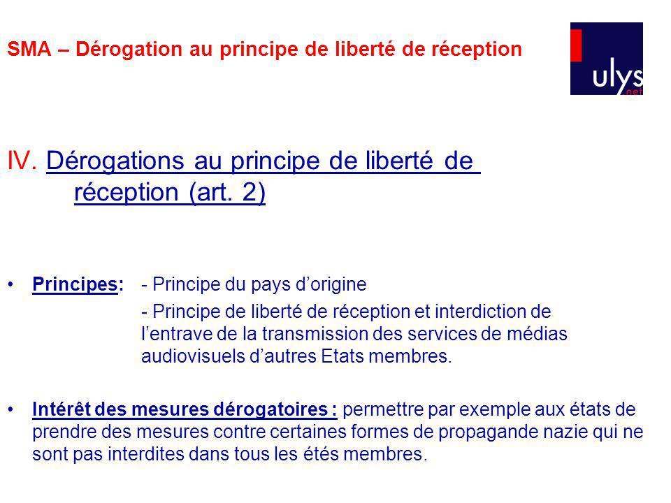 SMA – Dérogation au principe de liberté de réception IV. Dérogations au principe de liberté de réception (art. 2) Principes:- Principe du pays dorigin