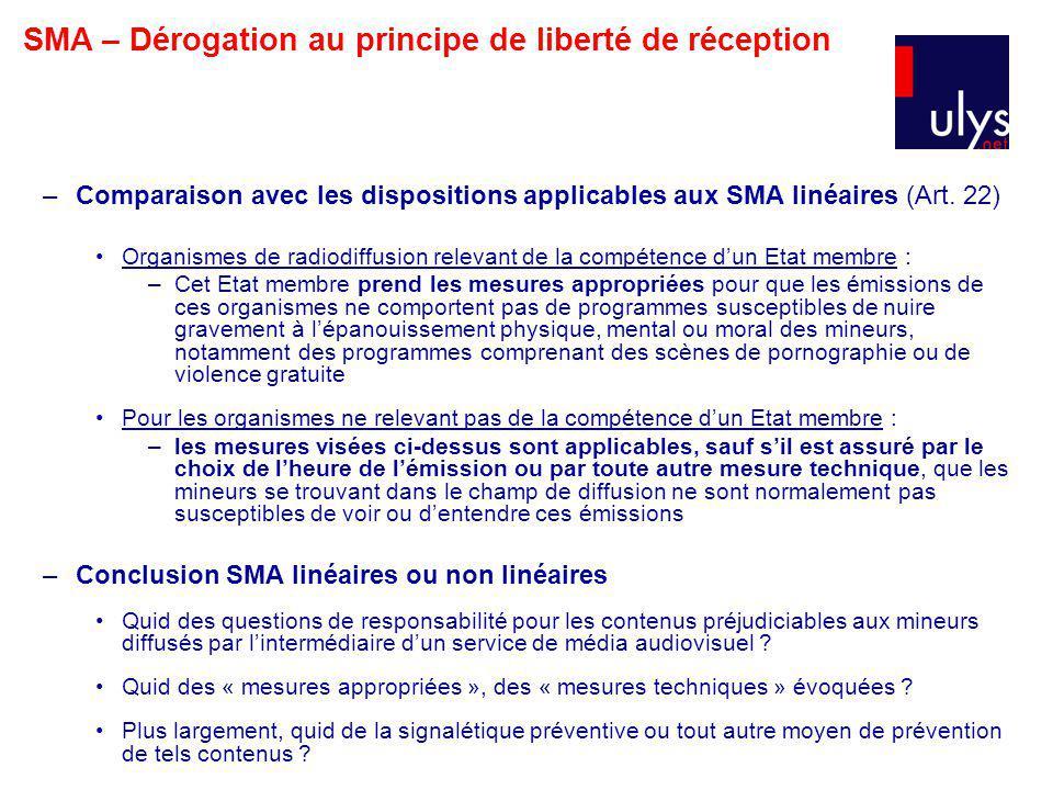–Comparaison avec les dispositions applicables aux SMA linéaires (Art.