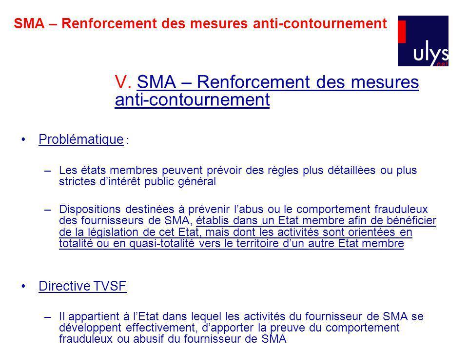 SMA – Renforcement des mesures anti-contournement V.