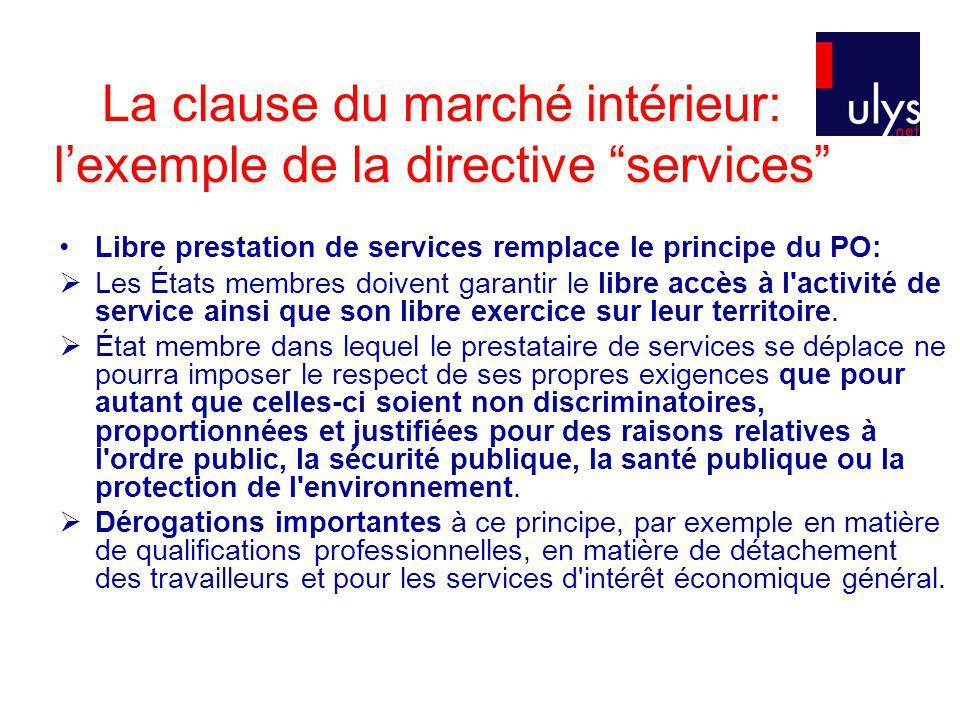 La clause du marché intérieur: lexemple de la directive services Libre prestation de services remplace le principe du PO: Les États membres doivent garantir le libre accès à l activité de service ainsi que son libre exercice sur leur territoire.
