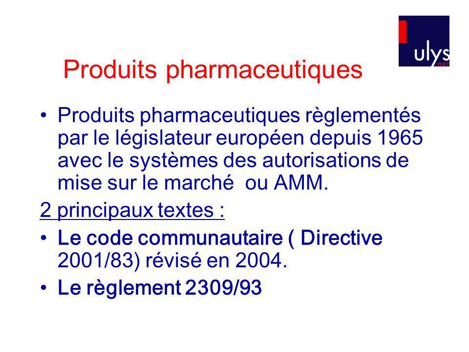 Produits pharmaceutiques Produits pharmaceutiques règlementés par le législateur européen depuis 1965 avec le systèmes des autorisations de mise sur le marché ou AMM.