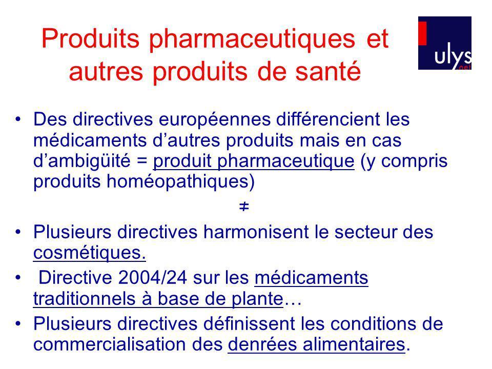 Produits pharmaceutiques et autres produits de santé Des directives européennes différencient les médicaments dautres produits mais en cas dambigüité = produit pharmaceutique (y compris produits homéopathiques) Plusieurs directives harmonisent le secteur des cosmétiques.