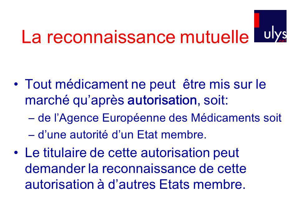 La reconnaissance mutuelle Tout médicament ne peut être mis sur le marché quaprès autorisation, soit: –de lAgence Européenne des Médicaments soit –dune autorité dun Etat membre.