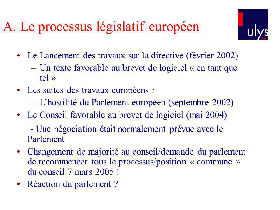 A. Le processus législatif européen Le Lancement des travaux sur la directive (février 2002) –Un texte favorable au brevet de logiciel « en tant que t