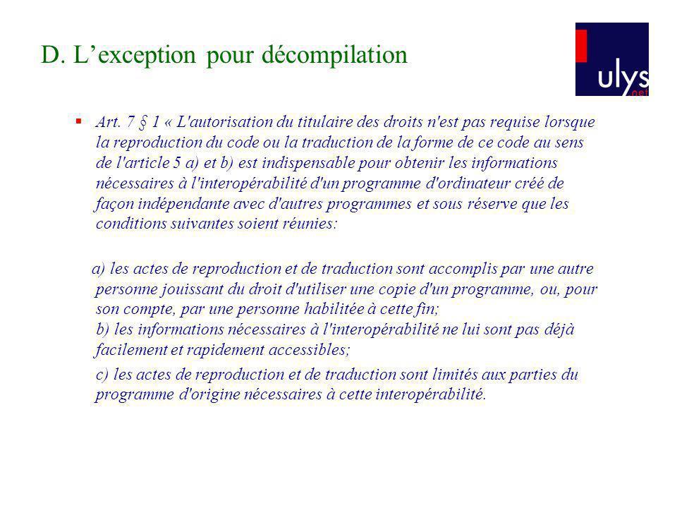 D.Lexception pour décompilation Art.