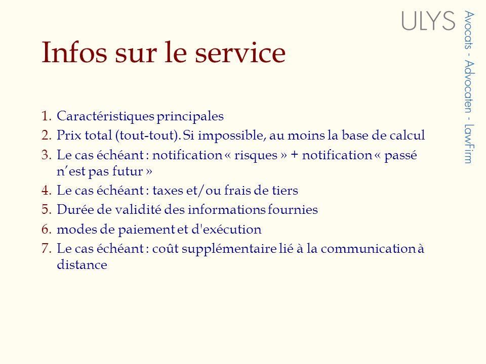 Infos sur le service 1.Caractéristiques principales 2.Prix total (tout-tout).