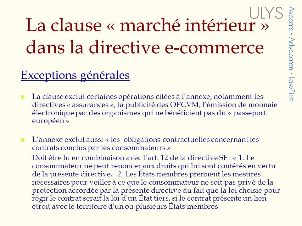 La transposition de la directive SFD en droit français Transposition avant le 9 octobre 2004 Loi 18 mars 2004 : habilitation du Gouvernement à transposer par ordonnance la directive SFD Octobre 2004 : avant-projet dordonnance soumis à consultation