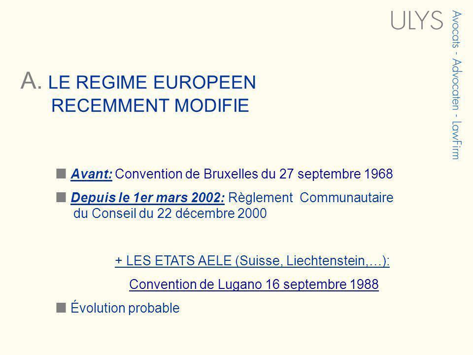 A. LE REGIME EUROPEEN RECEMMENT MODIFIE Avant: Convention de Bruxelles du 27 septembre 1968 Depuis le 1er mars 2002: Règlement Communautaire du Consei