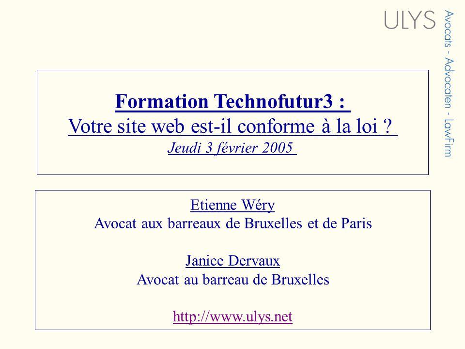 Formation Technofutur3 : Votre site web est-il conforme à la loi ? Jeudi 3 février 2005 Etienne Wéry Avocat aux barreaux de Bruxelles et de Paris Jani