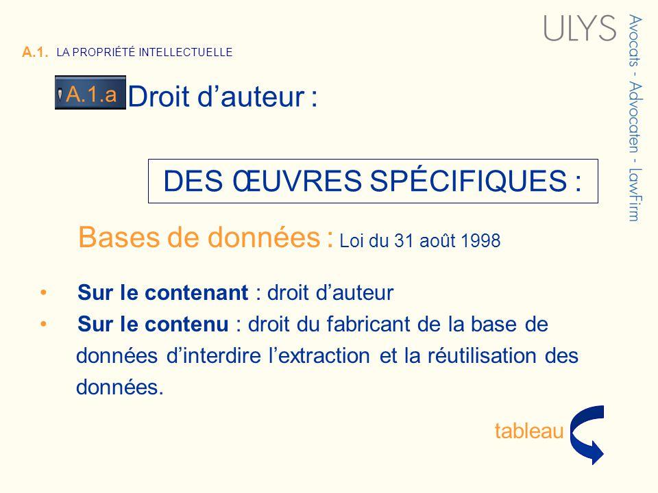 3 TITRE Bases de données : Loi du 31 août 1998 Sur le contenant : droit dauteur Sur le contenu : droit du fabricant de la base de données dinterdire l