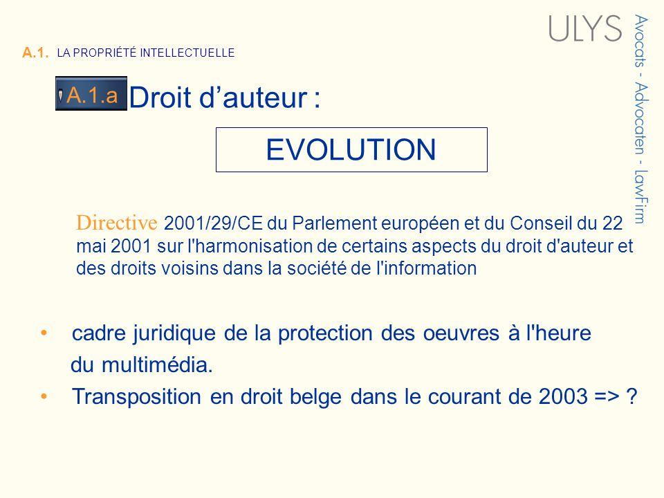 3 TITRE EVOLUTION A.1. LA PROPRIÉTÉ INTELLECTUELLE Droit dauteur : A.1.a Directive 2001/29/CE du Parlement européen et du Conseil du 22 mai 2001 sur l