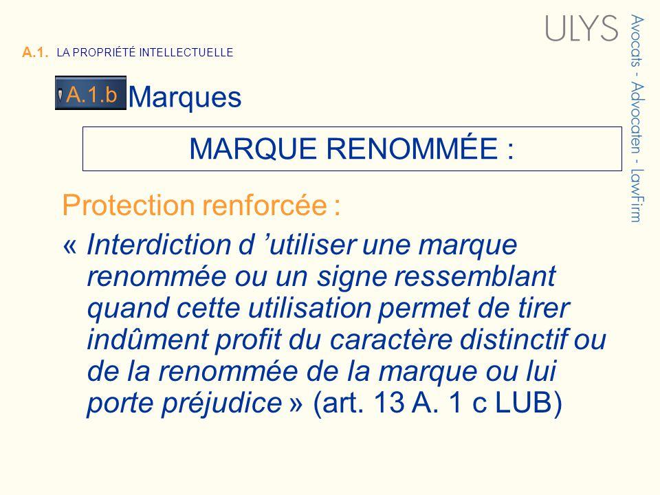 3 TITRE A.1. LA PROPRIÉTÉ INTELLECTUELLE Marques A.1.b MARQUE RENOMMÉE : Protection renforcée : « Interdiction d utiliser une marque renommée ou un si