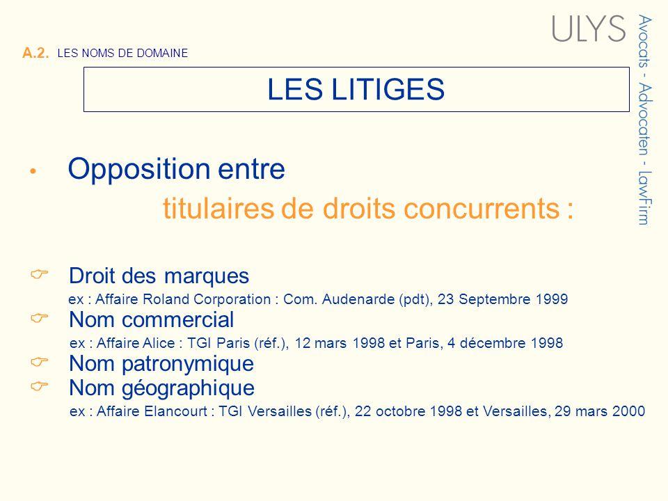 A.2. LES NOMS DE DOMAINE LES LITIGES Opposition entre titulaires de droits concurrents : Droit des marques ex : Affaire Roland Corporation : Com. Aude
