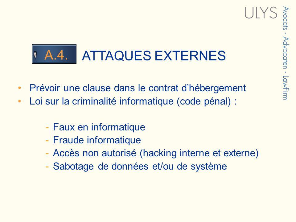 3 TITRE ATTAQUES EXTERNES A.4. Prévoir une clause dans le contrat dhébergement Loi sur la criminalité informatique (code pénal) : -Faux en informatiqu