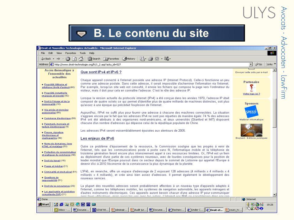 3 TITRE B. Le contenu du site