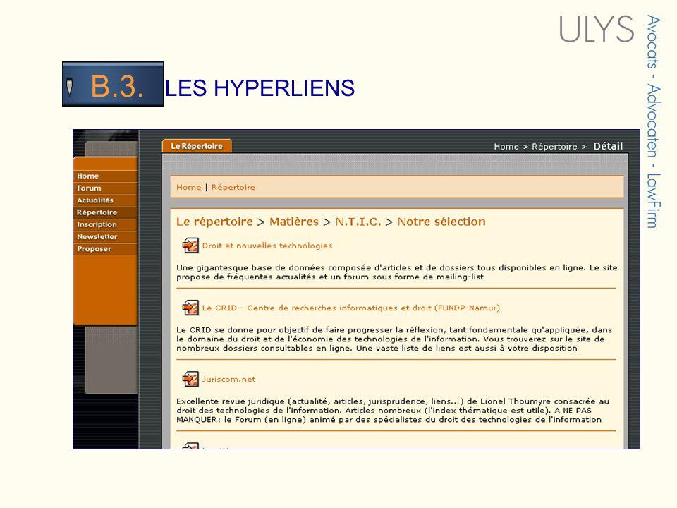 3 TITRE LES HYPERLIENS B.3.