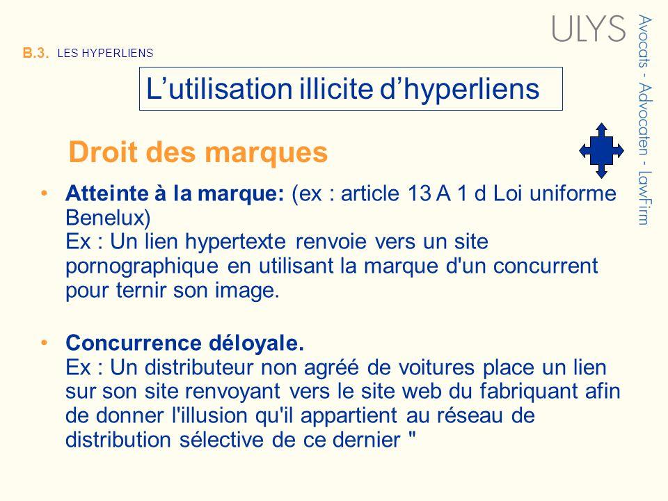 3 TITRE B.3. LES HYPERLIENS Lutilisation illicite dhyperliens Atteinte à la marque: (ex : article 13 A 1 d Loi uniforme Benelux) Ex : Un lien hypertex