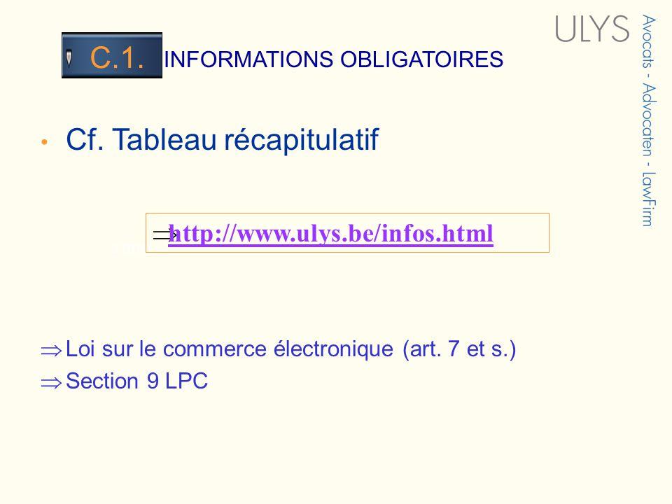 3 TITRE INFORMATIONS OBLIGATOIRES C.1. Cf. Tableau récapitulatif Loi sur le commerce électronique (art. 7 et s.) Section 9 LPC http://www.ulys.be/info