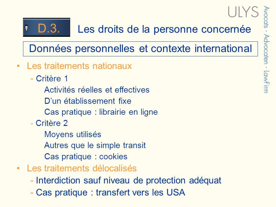 3 TITRE Les droits de la personne concernée D.3. Données personnelles et contexte international Les traitements nationaux - Critère 1 Activités réelle