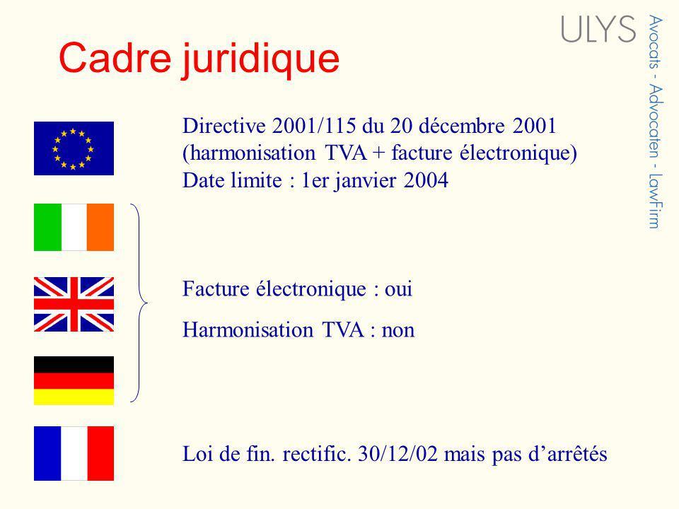 Cadre juridique Directive 2001/115 du 20 décembre 2001 (harmonisation TVA + facture électronique) Date limite : 1er janvier 2004 Facture électronique