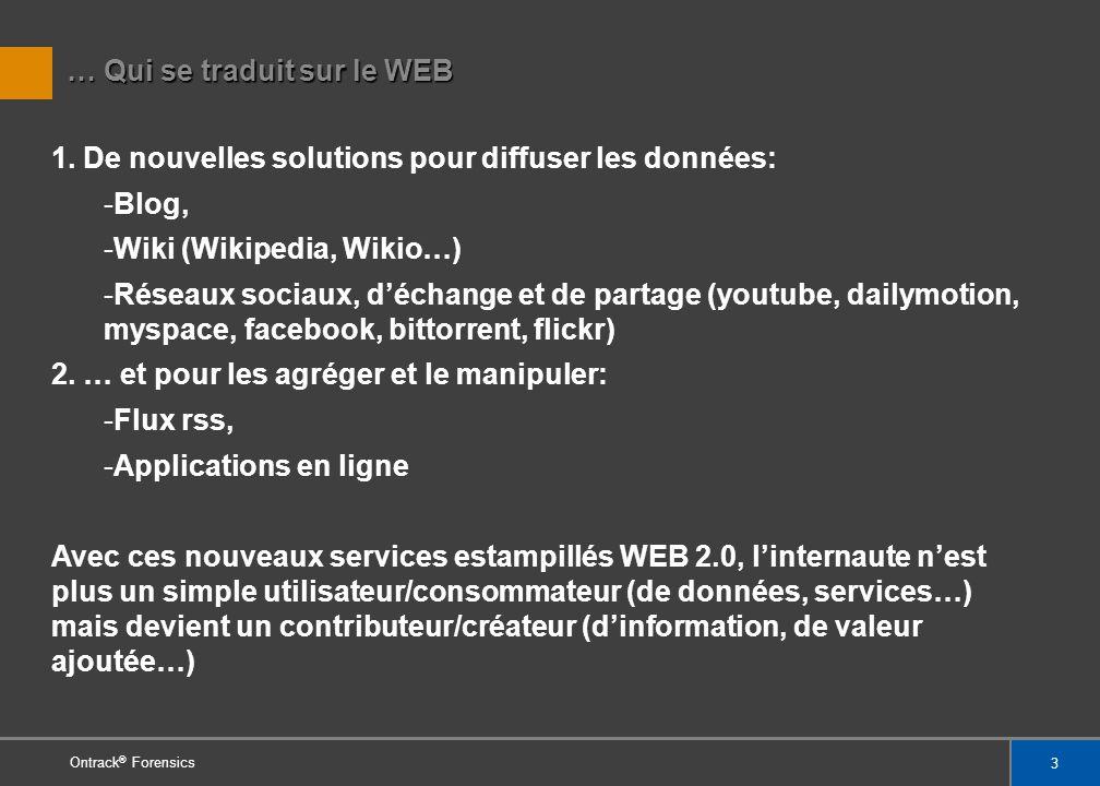 4 Cartographie des concepts gravitant autours du WEB 2.0 Ontrack ® Forensics Carte illustrant le WEB 2.0 extraite de WIKIPEDIA