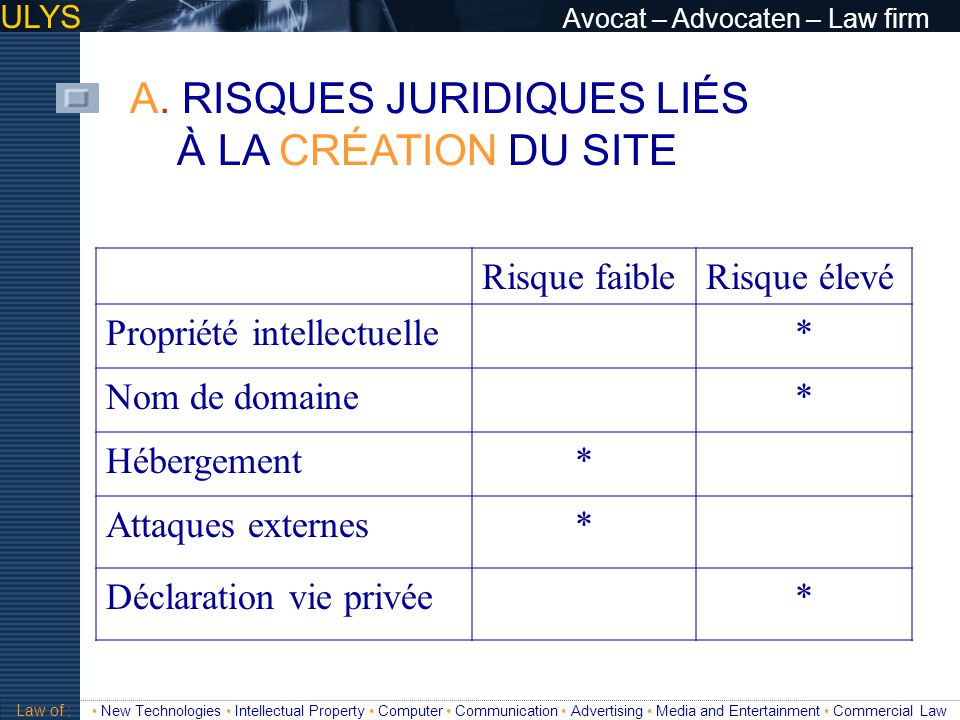ULYS Avocat – Advocaten – Law firm 3 TITRE Law of : New Technologies Intellectual Property Computer Communication Advertising Media and Entertainment Commercial Law B.3.