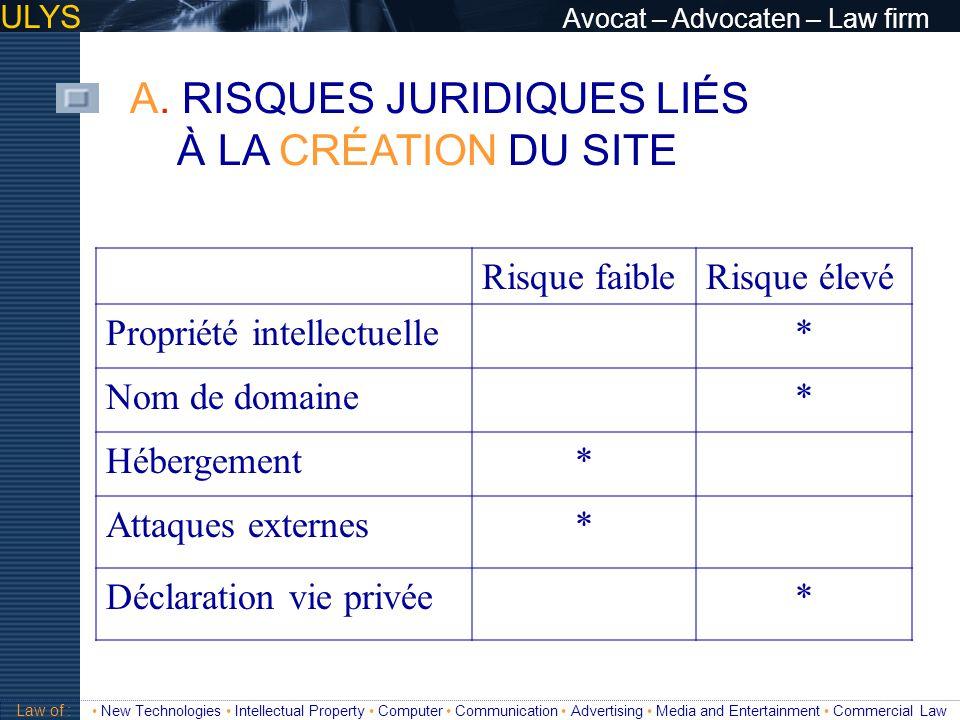 ULYS Avocat – Advocaten – Law firm A. RISQUES JURIDIQUES LIÉS À LA CRÉATION DU SITE 3 TITRE Law of : New Technologies Intellectual Property Computer C