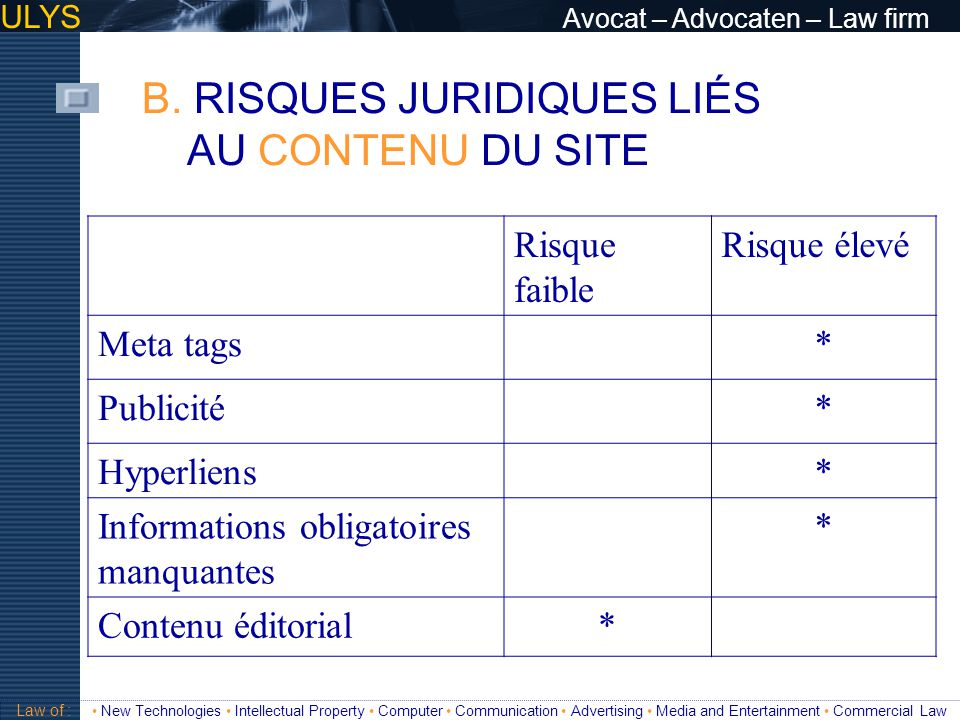 ULYS Avocat – Advocaten – Law firm 3 TITRE Law of : New Technologies Intellectual Property Computer Communication Advertising Media and Entertainment Commercial Law INFORMATIONS OBLIGATOIRES C.1.