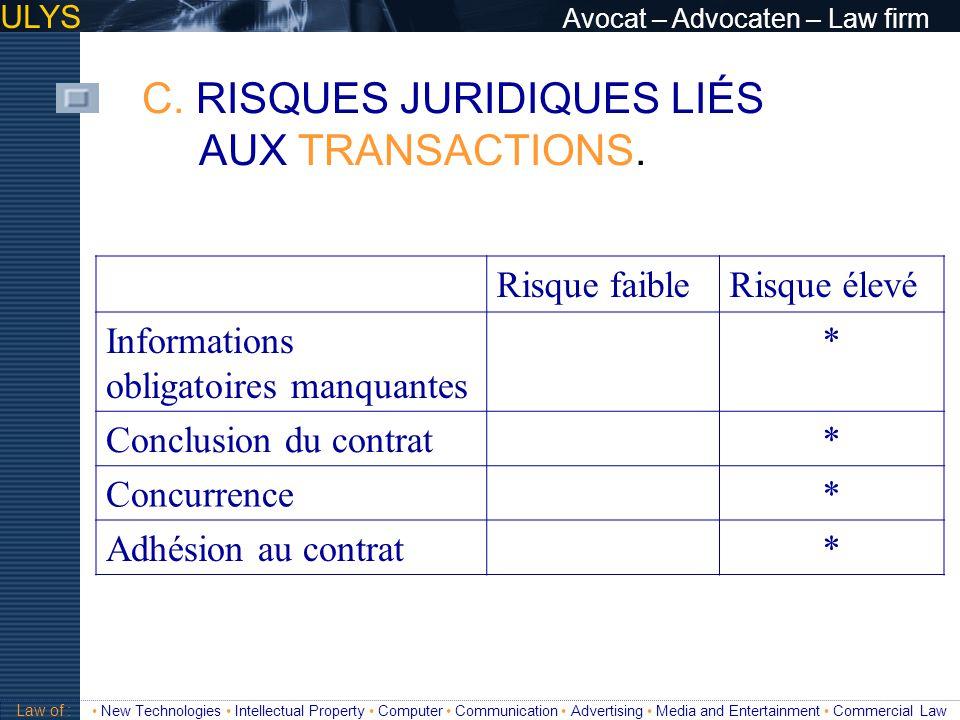 ULYS Avocat – Advocaten – Law firm C. RISQUES JURIDIQUES LIÉS AUX TRANSACTIONS. 3 TITRE Law of : New Technologies Intellectual Property Computer Commu