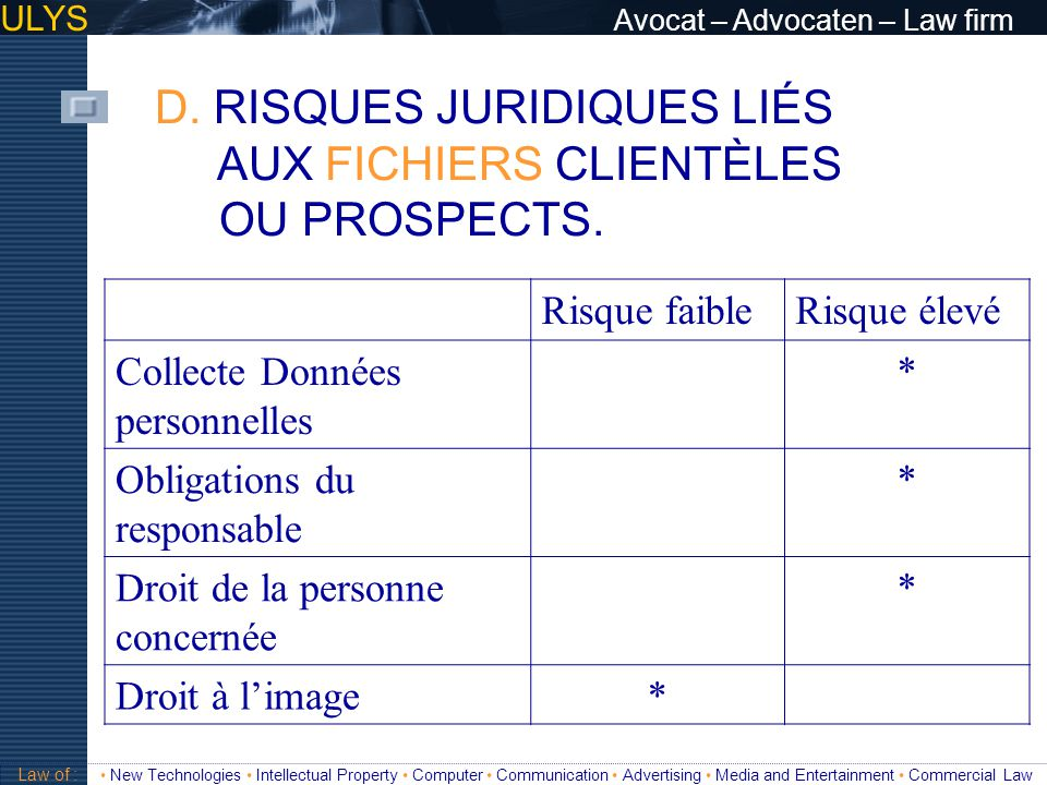 ULYS Avocat – Advocaten – Law firm 3 TITRE Law of : New Technologies Intellectual Property Computer Communication Advertising Media and Entertainment Commercial Law Choisir un label .