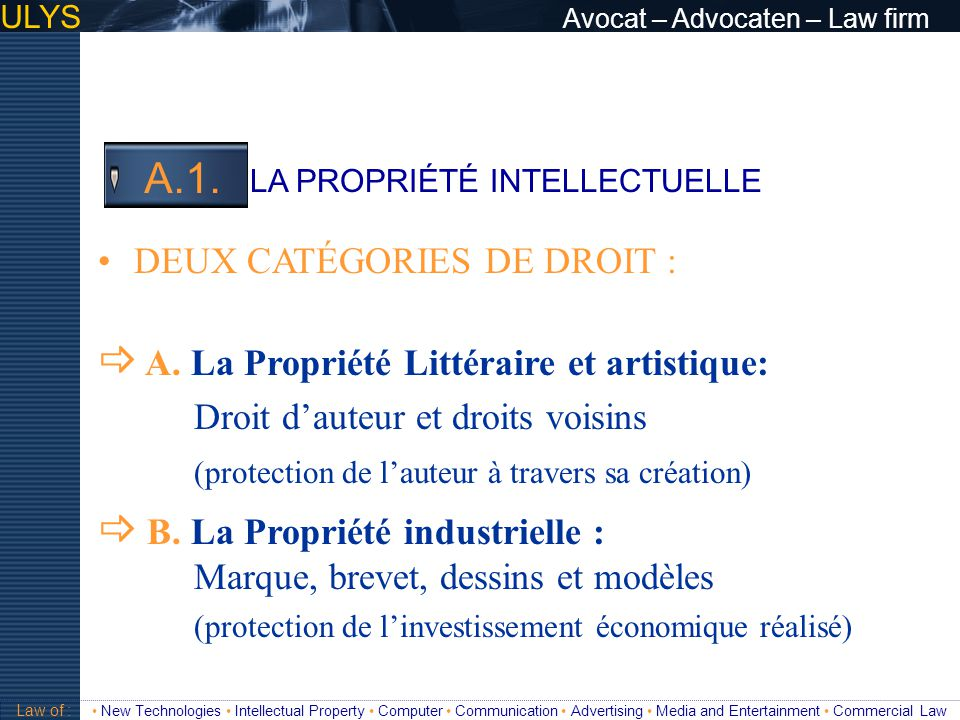 ULYS Avocat – Advocaten – Law firm 3 TITRE Law of : New Technologies Intellectual Property Computer Communication Advertising Media and Entertainment Commercial Law Droit dauteur : A.1.a A.1.