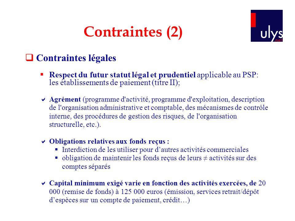 Contraintes légales Respect du futur statut légal et prudentiel applicable au PSP: les établissements de paiement (titre II); Agrément (programme d'ac