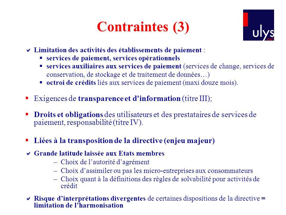 Contraintes (3) Limitation des activités des établissements de paiement : services de paiement, services opérationnels services auxiliaires aux servic