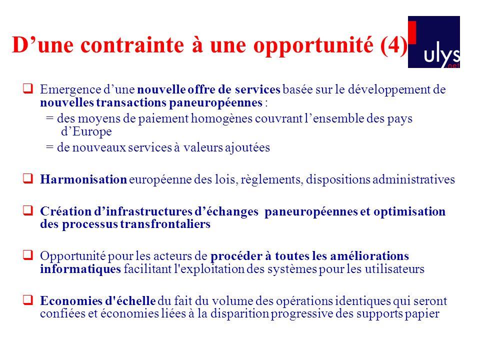 Emergence dune nouvelle offre de services basée sur le développement de nouvelles transactions paneuropéennes : = des moyens de paiement homogènes cou