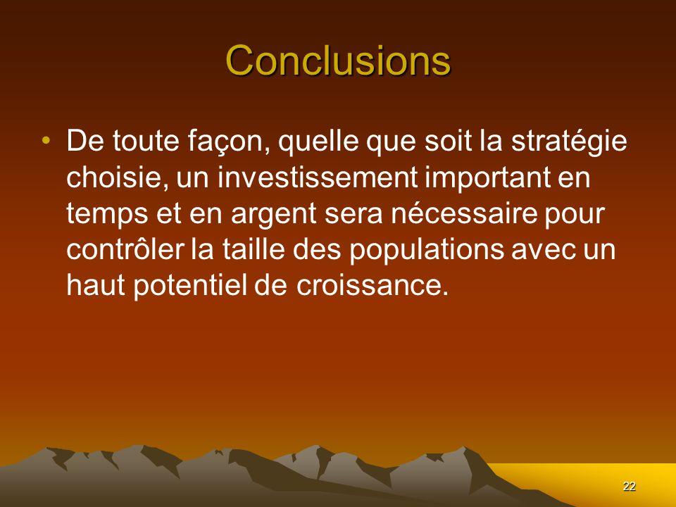 22 Conclusions De toute façon, quelle que soit la stratégie choisie, un investissement important en temps et en argent sera nécessaire pour contrôler la taille des populations avec un haut potentiel de croissance.