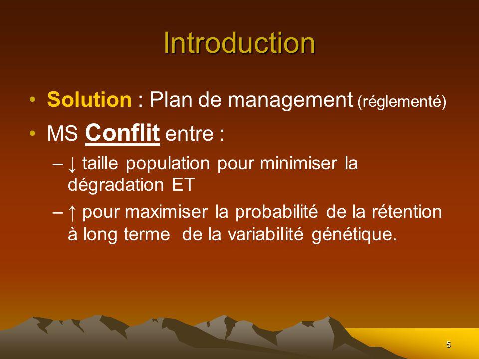 5 Introduction Solution : Plan de management (réglementé) MS Conflit entre : – taille population pour minimiser la dégradation ET – pour maximiser la probabilité de la rétention à long terme de la variabilité génétique.
