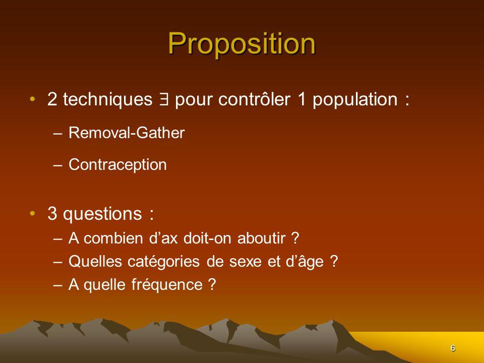 6 Proposition 2 techniques pour contrôler 1 population : –Removal-Gather –Contraception 3 questions : –A combien dax doit-on aboutir ? –Quelles catégo