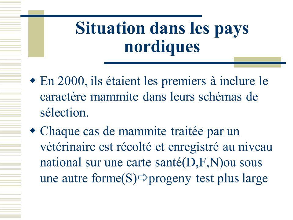 Situation dans les pays nordiques En 2000, ils étaient les premiers à inclure le caractère mammite dans leurs schémas de sélection. Chaque cas de mamm