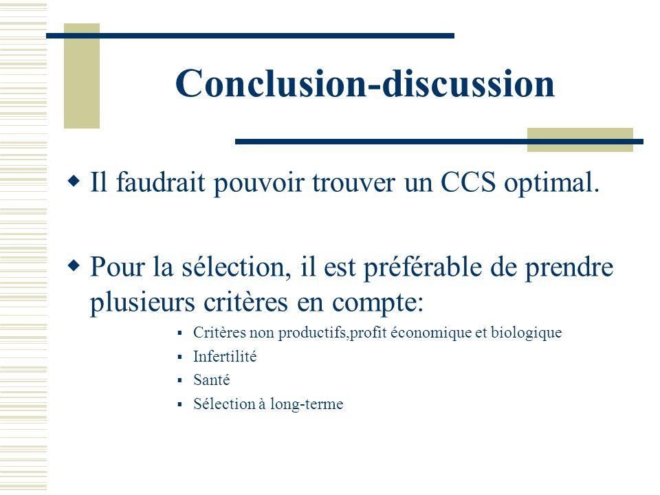Conclusion-discussion Il faudrait pouvoir trouver un CCS optimal. Pour la sélection, il est préférable de prendre plusieurs critères en compte: Critèr