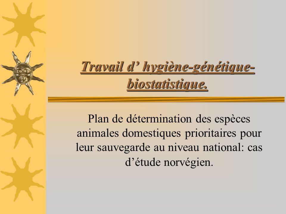 Travail d hygiène-génétique- biostatistique. Plan de détermination des espèces animales domestiques prioritaires pour leur sauvegarde au niveau nation
