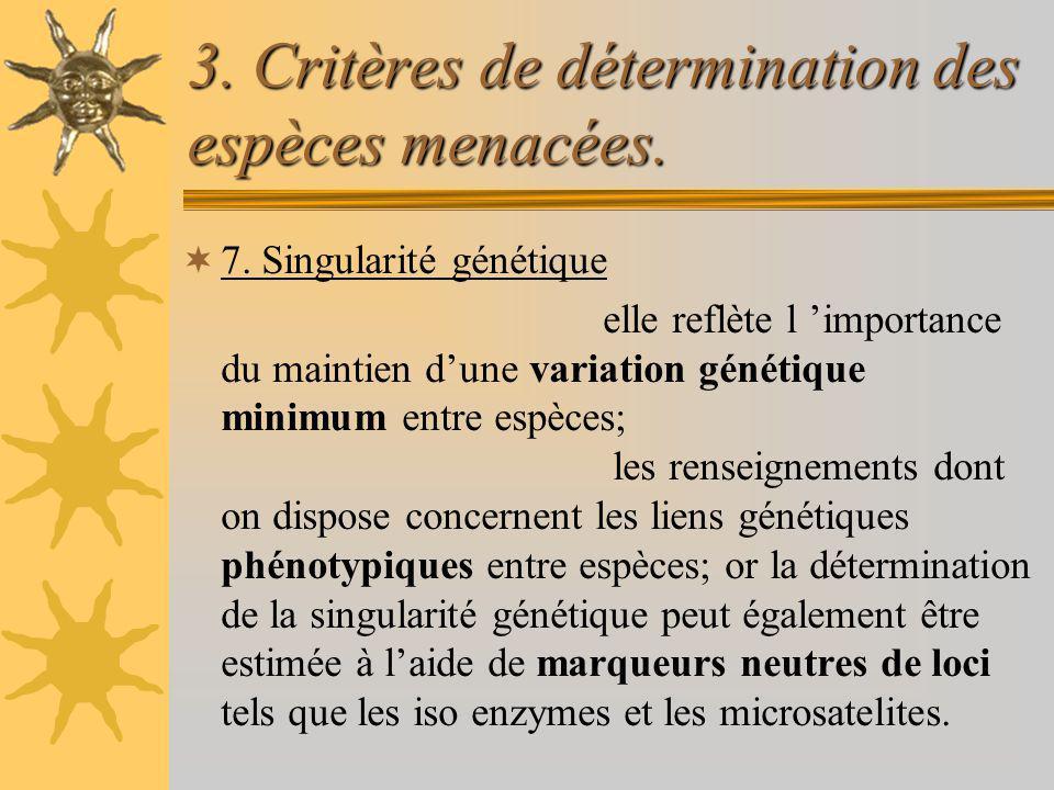 3. Critères de détermination des espèces menacées. 7. Singularité génétique elle reflète l importance du maintien dune variation génétique minimum ent