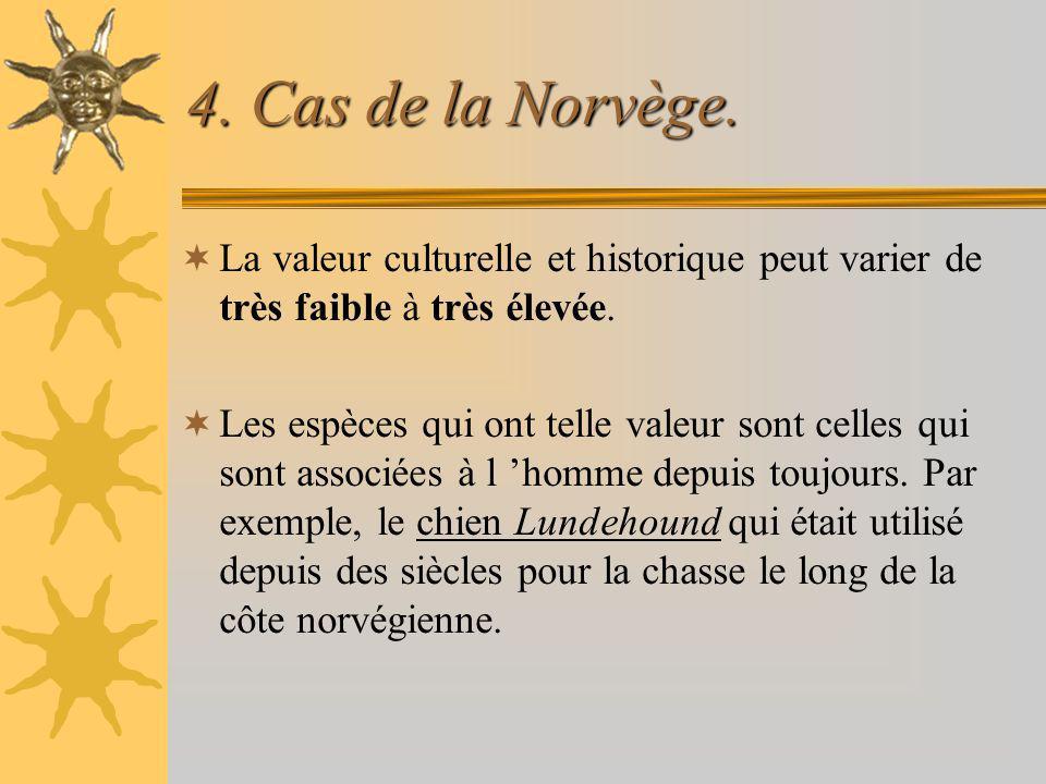 4. Cas de la Norvège. La valeur culturelle et historique peut varier de très faible à très élevée. Les espèces qui ont telle valeur sont celles qui so