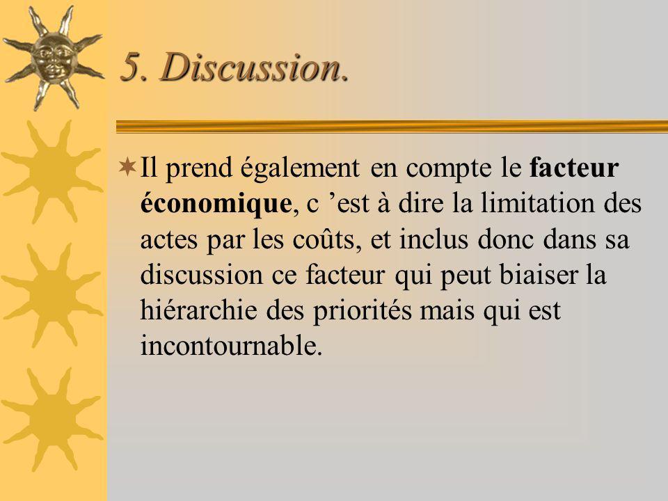 5. Discussion. Il prend également en compte le facteur économique, c est à dire la limitation des actes par les coûts, et inclus donc dans sa discussi