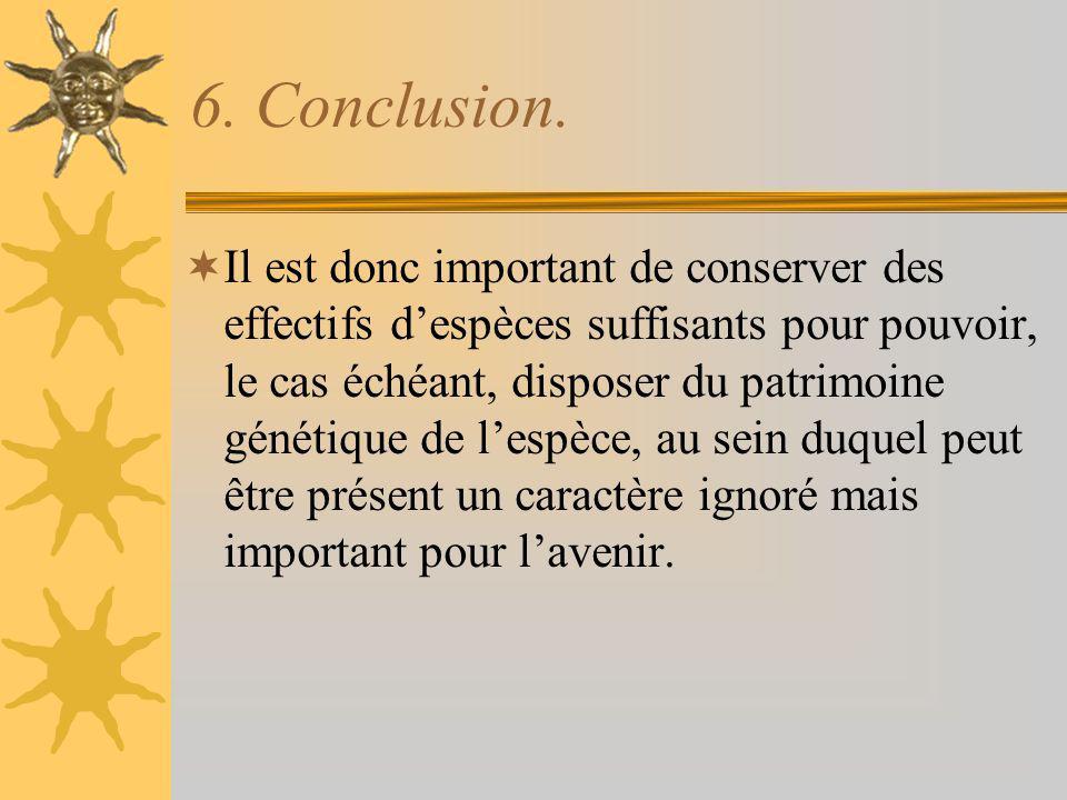 6. Conclusion. Il est donc important de conserver des effectifs despèces suffisants pour pouvoir, le cas échéant, disposer du patrimoine génétique de