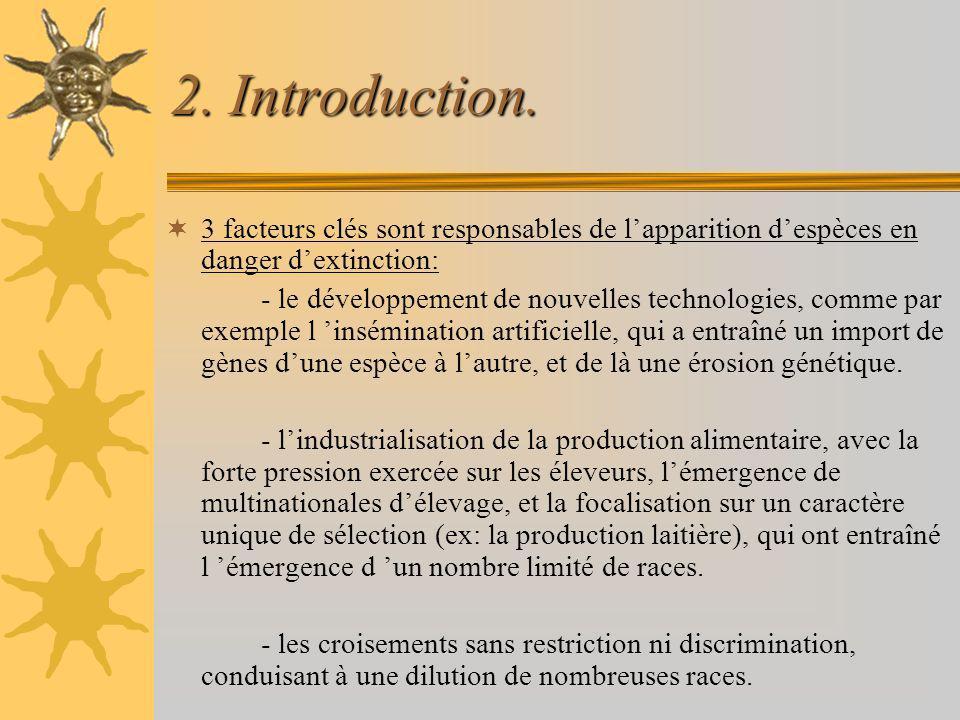 2. Introduction. 3 facteurs clés sont responsables de lapparition despèces en danger dextinction: - le développement de nouvelles technologies, comme