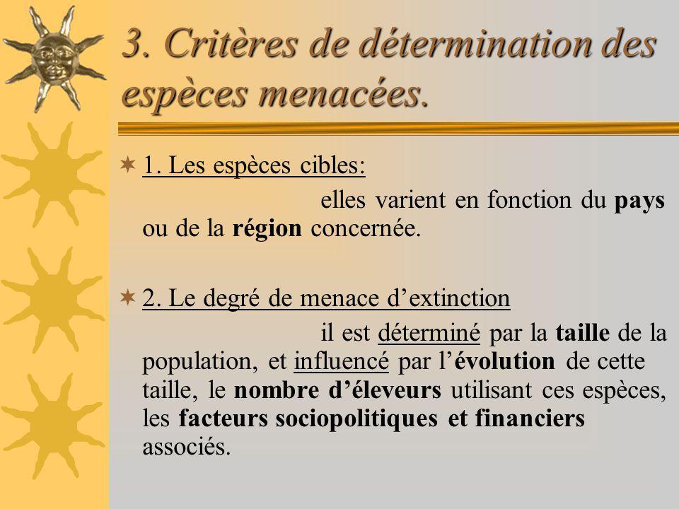 3. Critères de détermination des espèces menacées. 1. Les espèces cibles: elles varient en fonction du pays ou de la région concernée. 2. Le degré de