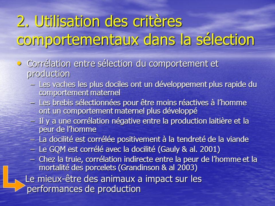 2. Utilisation des critères comportementaux dans la sélection Corrélation entre sélection du comportement et production Corrélation entre sélection du